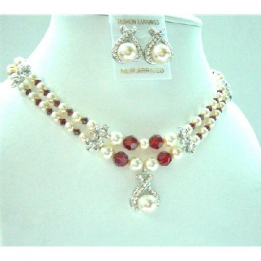 Double Stranded Necklace Bridemaides Cream Pearsl Siam Red Crystals