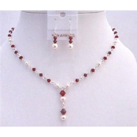 Custom Jewelry Swarovski Ivory Pearls Dark Siam Red Crystals Deep Red