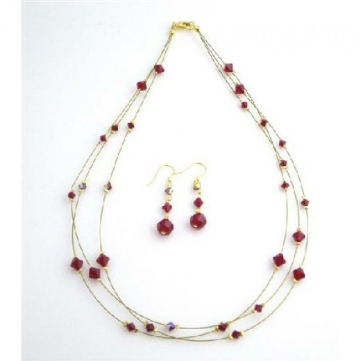 Handcraft Your Jewelry Siam Red Cyrstals AB Siam Red 3 Strand Necklace