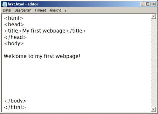 The content of the website should be typed in the body of the HTML document.