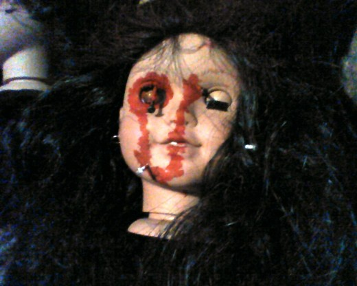 Turns out baby doll heads bleed just like the rest of us during Halloween.