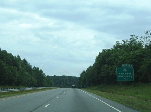 Just near exit 163 on the new part of 74 that leads to Interstate 26 in Polk County N.C. is where the ghost hunt is seen.