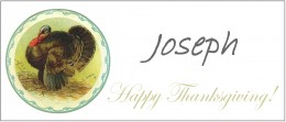 Here's a sample Thanksgiving place card with a guest's name written in