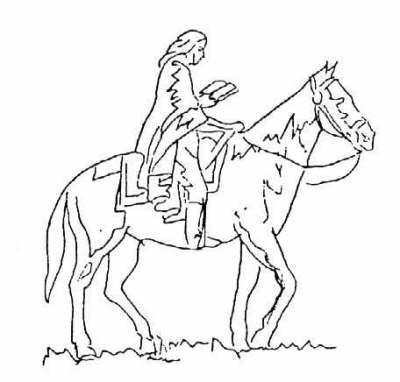 Sketch of a circuit rider, from an unknown artist