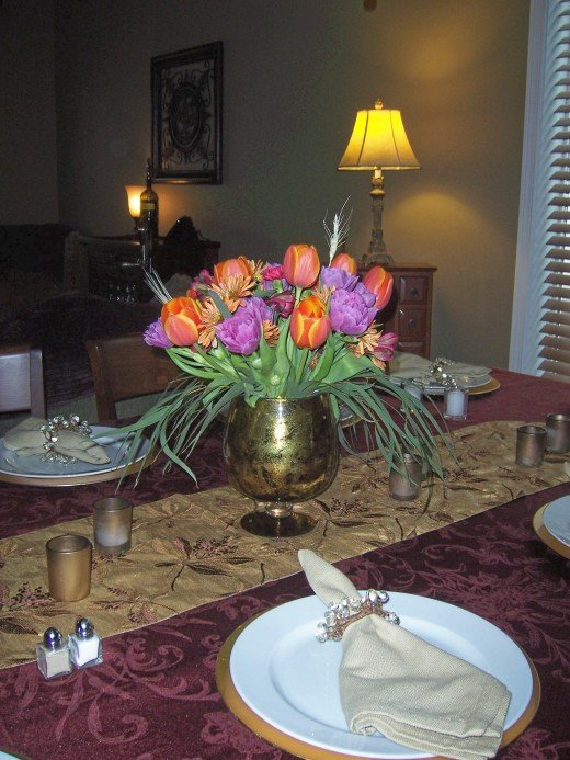 "FLOWERS AND TABLE DECORATED BY ""STACY"""