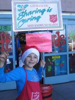 My family volunteers for the Salvation Army each Christmas as bell ringers outside of our local grocery store. Living in a small town offers many opportunities for service.