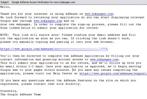 Initial email from Google after applying for AdSense.  Google and the Google logo are registered trademarks of Google Inc., used with permission.