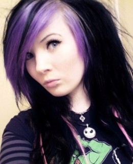 Black scene hair pops with purple streaks