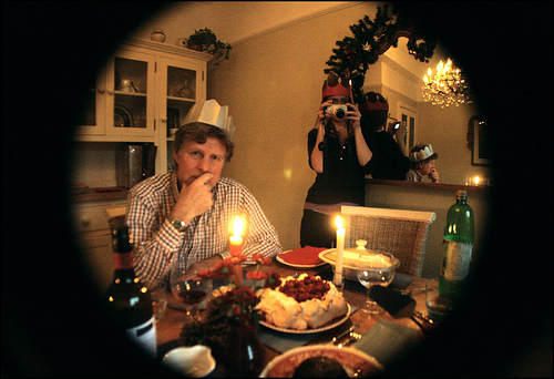 To keep the mood light, have guests wear funny hats as the ones in the photo.  Photo courtesy of:  http://www.flickr.com/photos/meblob/2137783919/