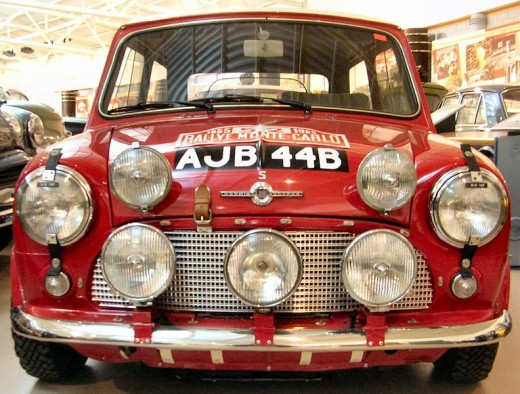 Mini Cooper S 1964. This car, which was one of the cars prepared by the BMC competitions department, won outright victory in the 1965 Monte Carlo. It was crewed by Timo Makinen and Paul Easter. This vehicle is kept at the Heritage Motor Centre, Gaydo