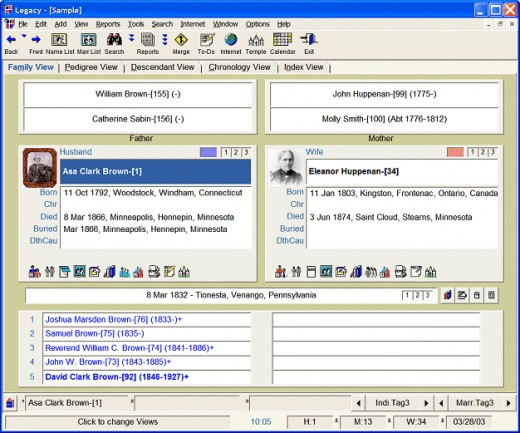 Image of computer screen in the Legacy program.