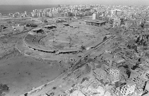 ISRAELI AIRSTRIKES DESTROYED THIS STADIUM USED BY THE PLO TO STORE AMMUNITION IN BEIRUT