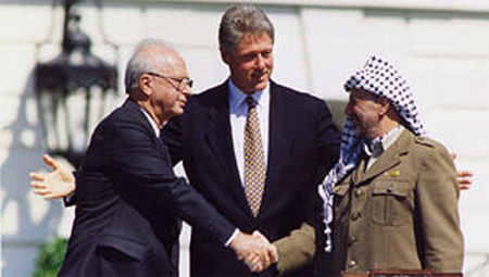 1993 SIGNING OF OSLO ACCORDS BY YITZHAK RABIN & YASSER ARAFAT WITH BILL CLINTON
