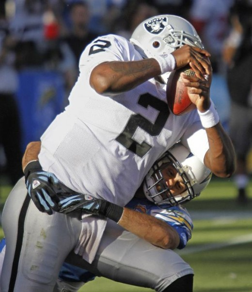 San Diego Chargers' Steve Gregory sacks Oakland Raiders quarterback JaMarcus Russell during the third quarter of an NFL football game Sunday, Nov. 1, 2009 in San Diego. The Chargers won 24-16. (AP Photo/Denis Poroy)