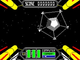Shooting the pods from the Space Wheel in Starstrike 2 ZX Spectrum