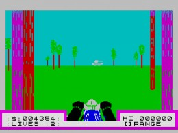 Avoid those trees at all costs in Deathchase on the ZX Spectrum