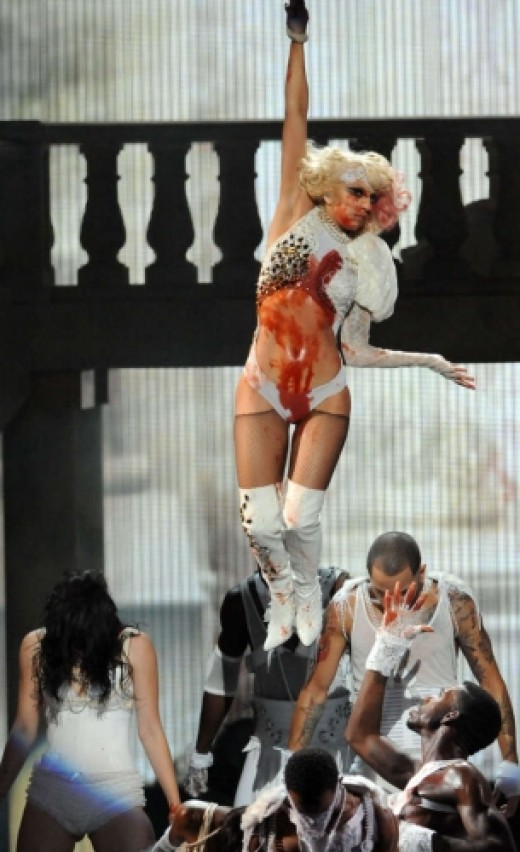 Her outfit for the Paparazzi performance for the 2009 VMA's.