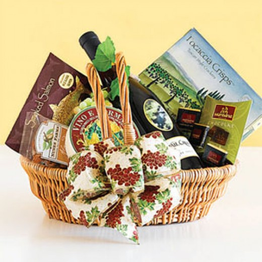 a sample of wine and cheese gift basket pro-gift-baskets.com
