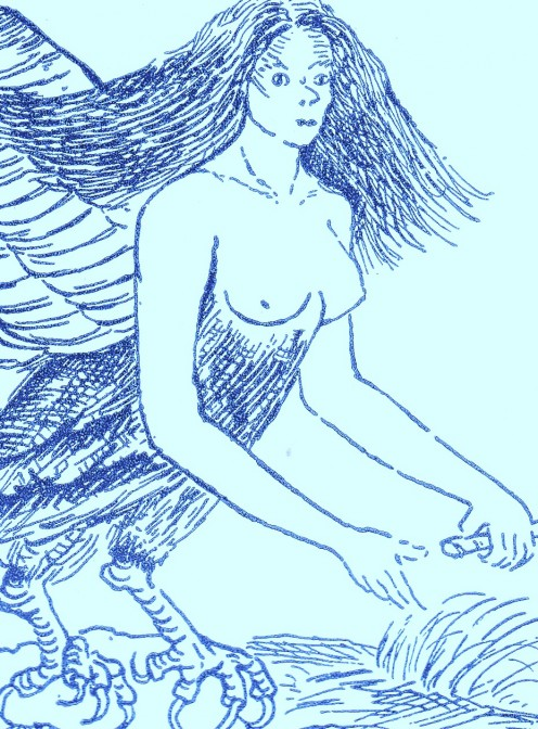The Harpy, an ugly creature, half bird, half woman.