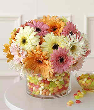 Flowers and jelly beans centerpiece