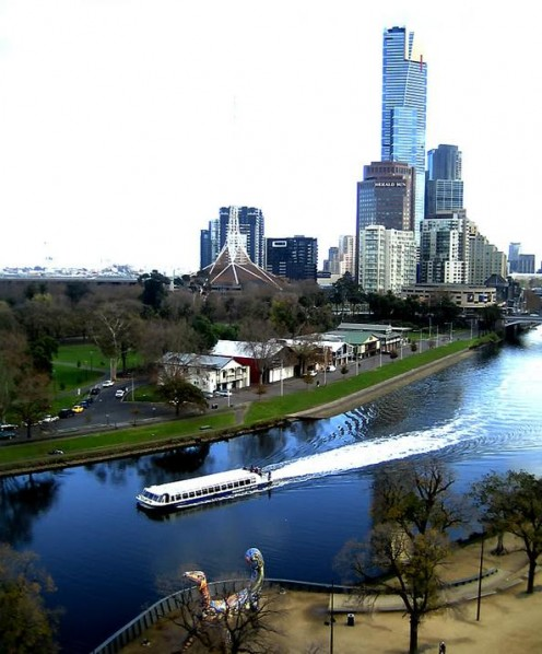 Looking at the Melbourne across the Yarra River