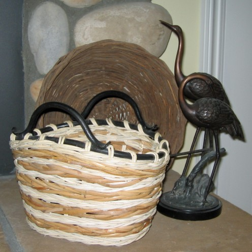 One bird and two baskets again in varying degrees of browns for other side of hearth.