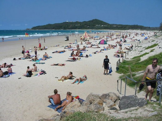 The seeming endless beaches at Byron Bay