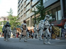 Where else could you see a unit of Storm Troopers marching down the street?