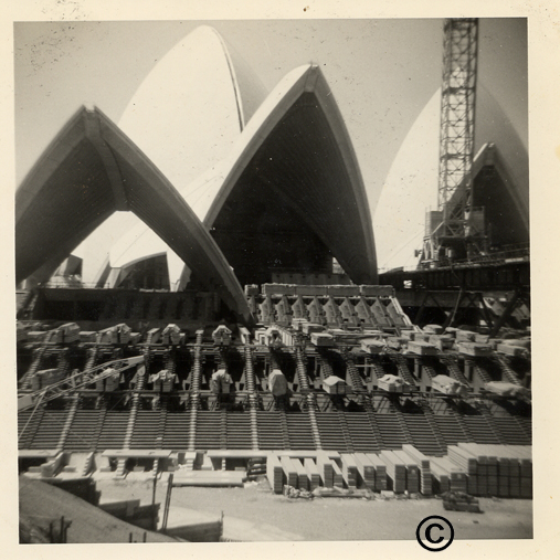 Sydney Opera House being constructed