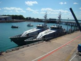 Boats docked at Darwin wharves
