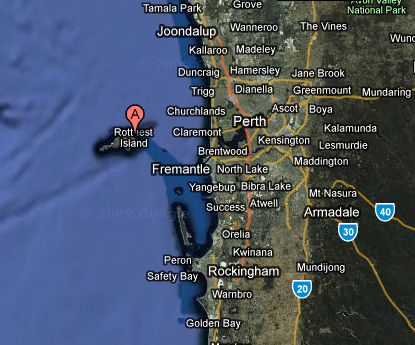 Google map showing where Rottnest Island is in reference to Perth
