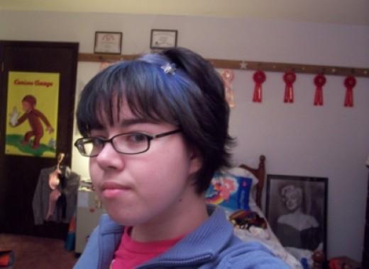 Faded blue hair dye.
