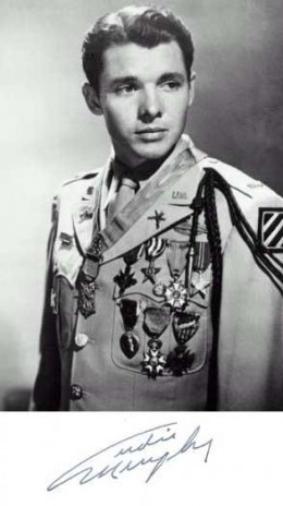 Audie Murphy in Uniform with Medals from World War II (Public Domain photo courtesy of WikiPedia.org http://en.wikipedia.org/wiki/File:Audie_Murphy_uniform_medals.jpg )
