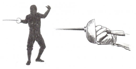 Epee: The e'pee grip is the same as foil and the valid target area includes every portion of the body, therefore no metallic vest is necessary to pinpoint the validity of any touch.