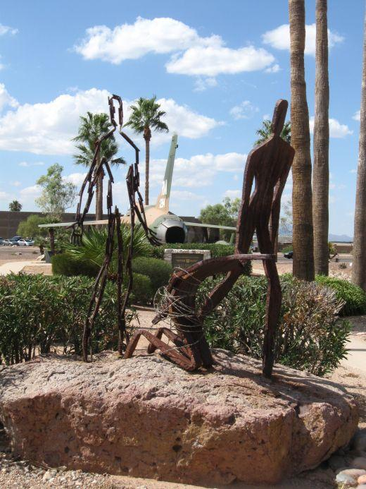 Sculpture at Davis-Monthan AFB in Tucson, Arizona honoring fliers shot down and taken prisoner during Vietnam War
