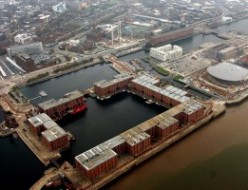 Aerial view of The Albert Dock area in Liverpool
