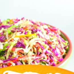 Texas Veggie Slaw is the perfect thing to go with your Super Sunday Beef Chili and Festive Mexican Cornbread.