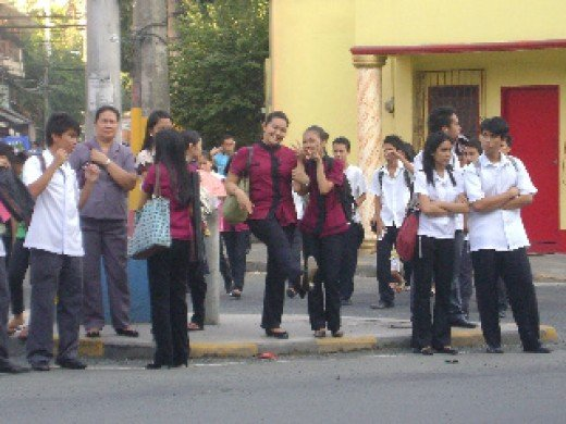Public-university students waiting for their transpo