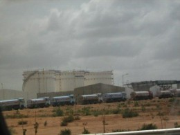 Fuel farm that you can see while entering the airport.