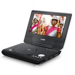 Black portable DVD player