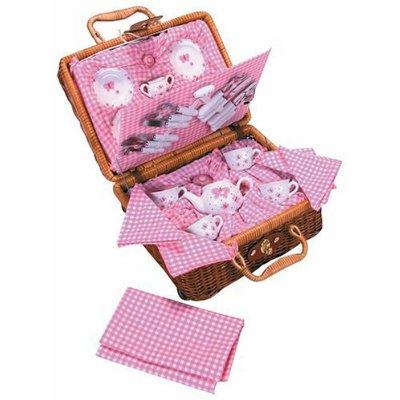 Children's tea set in a basket