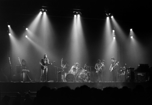 A live performance The Dark Side of the Moon shortly after its release in 1973. (l-r) Dave Gilmour, Nick Mason, Dick Parry, Roger Waters