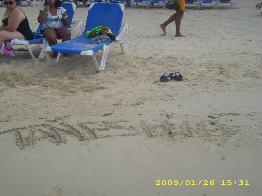 My name written in the sand.