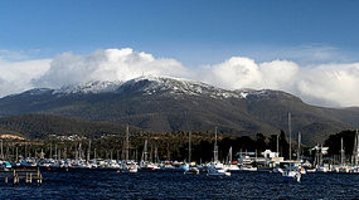 Mt Wellington with a sprinkling of snow. Hobart, Tasmania.