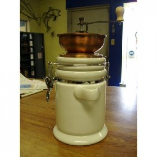 White ceramic coffee grinder