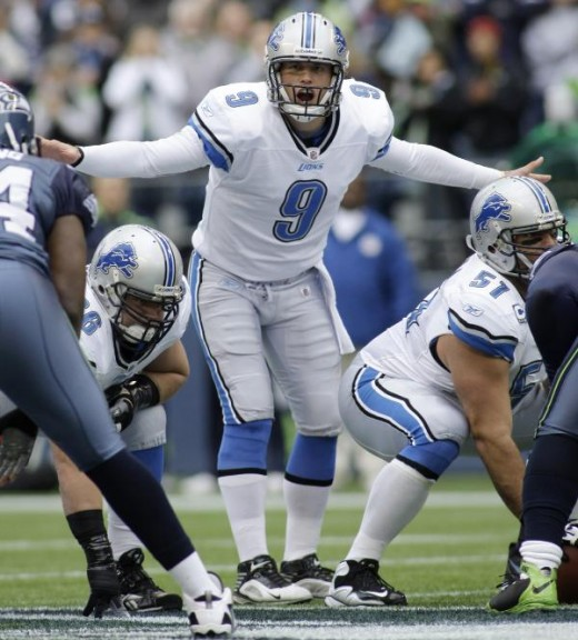 Detroit Lions quarterback Matthew Stafford calls to his team in the first half of an NFL football game against the Seattle Seahawks on Sunday, Nov. 8, 2009, in Seattle. (AP Photo/Ted S. Warren)