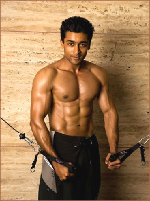 Surya with a six-pack.