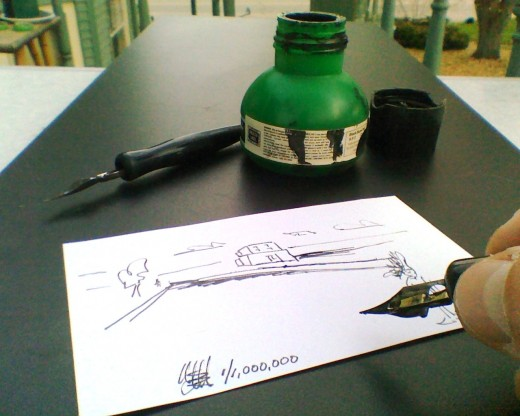 Each piece of art will be a drawing rendered with a quill pen and/or sable brush with black Sumi ink.