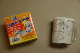 Elephant design on mug.