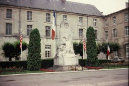 Verdun War Monument with French and American Flags in Verdun, France